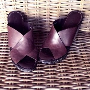Born brown leather open-toe wedges